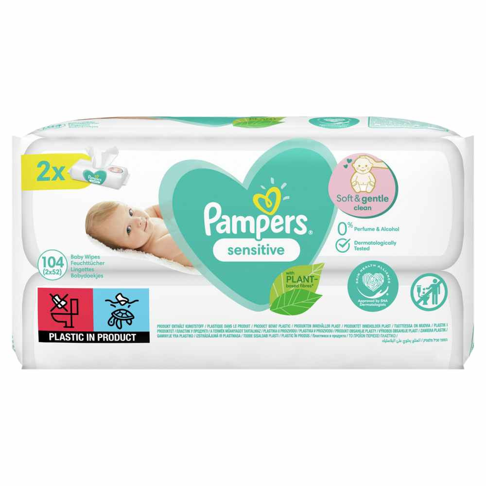 PAMPERS WIPES SENSITIVE DUO 2 X 52 PCS