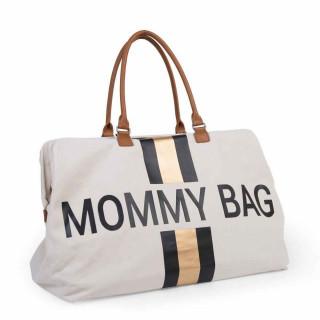 CHILDHOME MOMMY BAG BIG, RUCNA TORBA OFF WHITE STRIPES BLACK/GOLD