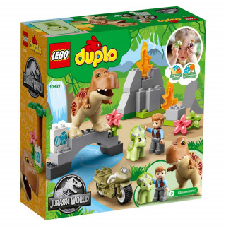 LEGO DUPLO JURASSIC WORLD T. REX AND TRICERATOPS DINOSAUR BREAKOUT