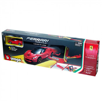 BURAGO FERRARI RACE AND PLAY JUMP W/LAUNCHER 1:43