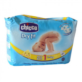 CHICCO PELENE DRYFIT  1 NEWBORN, 2-5 KG ,27 KOM.