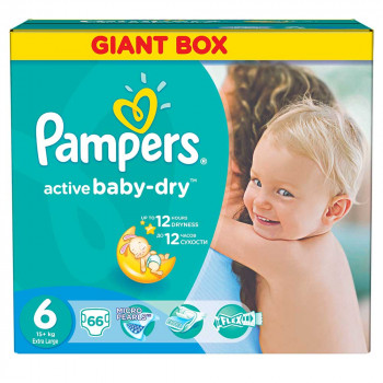 PAMPERS ACTIVE GBAG 6 EXTRA LARGE (66)