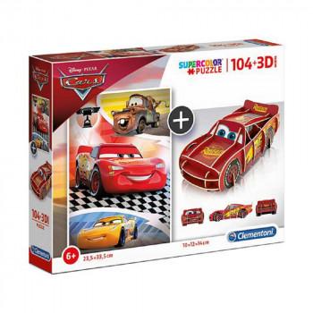CLEMENTONI PUZZLE 104+3D MODEL CARS
